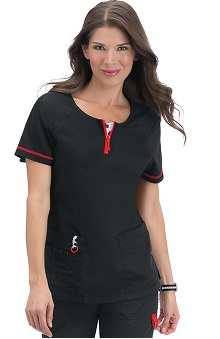 Clearance koi Limited Edition Women's Jasmine Zip Neck Solid Scrub Top