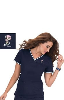Clearance koi by tokidoki Women's Nicole Crossover V-Neck Solid Scrub Top