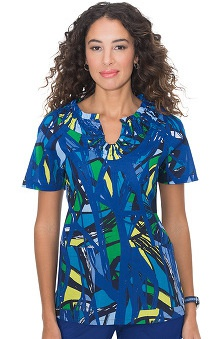 Clearance koi Women's Celeste Smocked Abstract Print Scrub Top