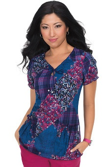 koi Women's Brittany Keyhole Neck Patch Print Scrub Top