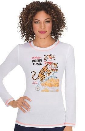 Clearance koi by Kellogg's® Prints Women's Ariel Tony The Tiger Print Long Sleeve T-shirt