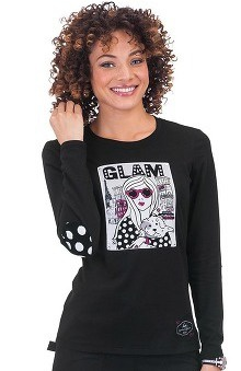 Clearance koi Limited Edition Women's Johanna Long Sleeve Crewneck Print T-Shirt