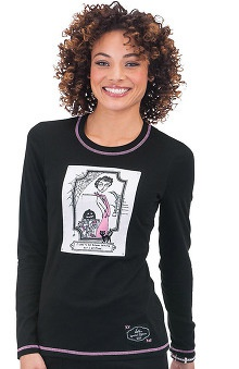 Scrubs new: koi Limited Edition Women's Stacy Longlseeve Crewneck Print T-Shirt