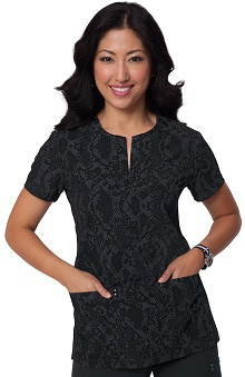 Clearance koi Sapphire Women's Dora Black Animal Print Scrub Top