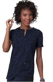 Clearance koi Sapphire Women's Dora Navy Animal Print Scrub Top