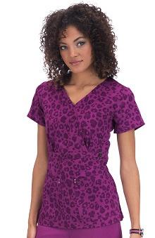 koi Sapphire Women's Sherri Mock Wrap Plum Leopard Print Scrub Top