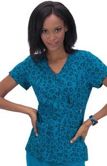 koi Sapphire Women's Sherri V-Neck Ultramarine Leopard Print Scrub Top