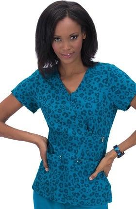 koi Sapphire Women's Sherri Mock Wrap Ultramarine Leopard Print Scrub Top