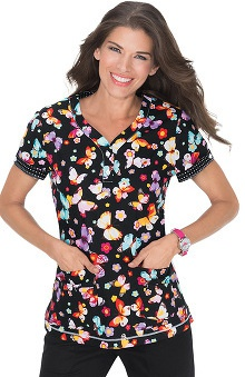 koi Women's Katrina V-Neck Butterfly Print Scrub Top