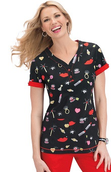 Clearance koi Women's Katrina V Neck Print Scrub Top
