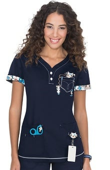 koi Women's Katrina V-Neck tokidoki Friends Print Scrub Top