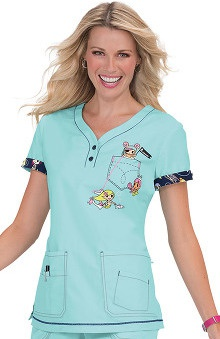 Clearance Koi By Tokidoki Women's Katrina V-Neck Pirate Print Scrub Top