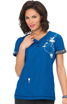 koi by tokidoki Women's Katrina V-Neck Outer Space Print Scrub Top