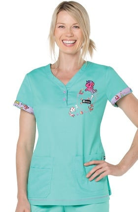 Clearance koi by tokidoki Women's Katrina V-Neck Solid Scrub Top
