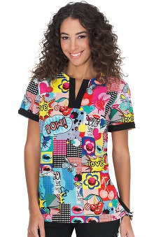 koi Women's Ella Pop Art Print Scrub Top