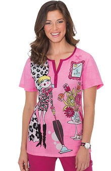 koi Women's Blair Split Neck Graphic Print Scrub Top