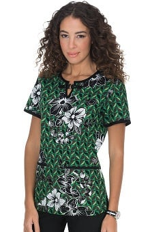 koi Women's Shayla Split Neck Botanical Print Scrub Top