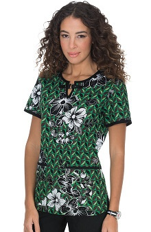 Clearance koi Women's Shayla Split Neck Botanical Print Scrub Top