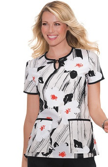 koi Lite Women's Blair Split Neck Heart Print Scrub Top
