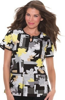 koi Lite Women's Blair Split Neck Floral Print Scrub Top