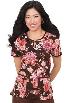 koi Lite Women's Shayla Split Neck Floral Print Scrub Top
