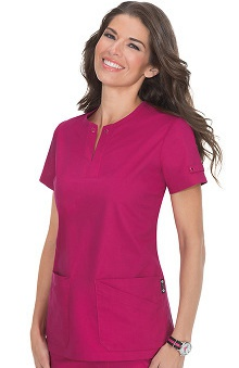 koi Women's Tracy Flower Eyelet Neck Scrub Top