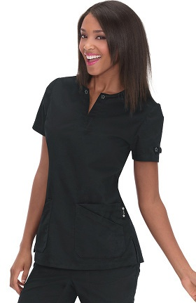 Clearance koi Women's Tracy Flower Eyelet Neck Scrub Top