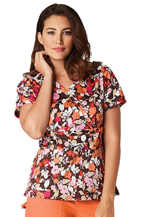 koi Prints Women's Amy V-Neck Floral Print Scrub Top