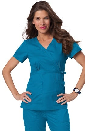 koi Stretch Women's Luna Stretch Scrub Top With Buckle Detail