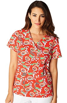 koi by General Mills® Women's Luna Stretch Mock Wrap Trix Print Scrub Top