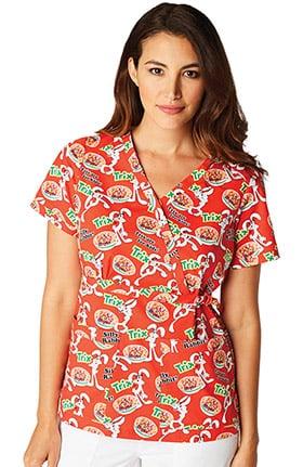 koi by General Mills® Women's Luna Stretch Mock Wrap Trix Print Scrub Top