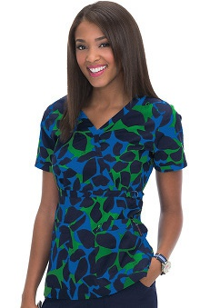 koi Stretch Women's Luna V-neck Abstract Print Scrub Top