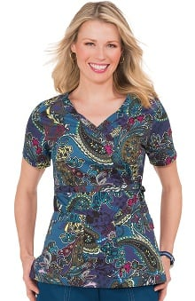 koi Stretch Women's Luna V-Neck Print Paisley Print Scrub Top