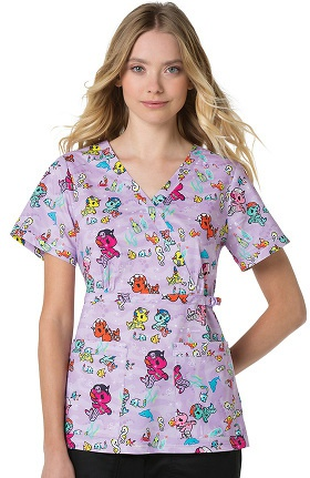 koi by tokidoki Women's Luna Stretch Mermicorno Print Scrub Top