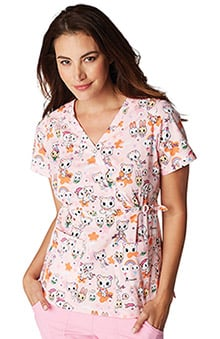 koi by tokidoki Women's Luna Stretch Pet Print Scrub Top