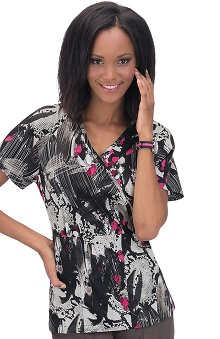 Clearance koi Stretch Women's Joelle Mock Wrap Print Scrub Top