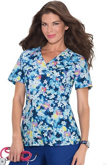 Koi Stretch Women's Joelle Mock Wrap Floral Print Scrub Top