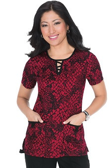 koi Women's Susan Split Neck Heart Print Scrub Top