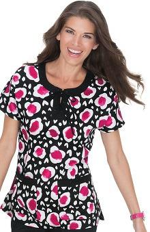 koi Women's Miranda Raglan Sleeve Heart Print Scrub Top