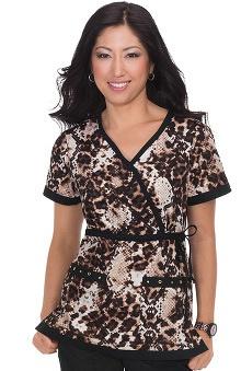koi Women's Melissa Tie Waist Snake Print Scrub Top