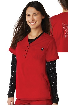 koi Women's Alexis Button V-Neck Solid Scrub Top