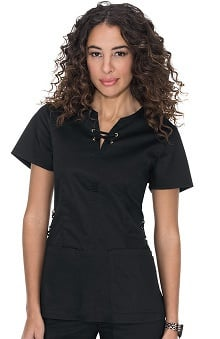 koi Stretch Women's Penelope Lace-Up Neck Scrub Top