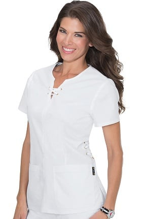 Clearance koi Stretch Women's Penelope Lace-Up Neck Scrub Top