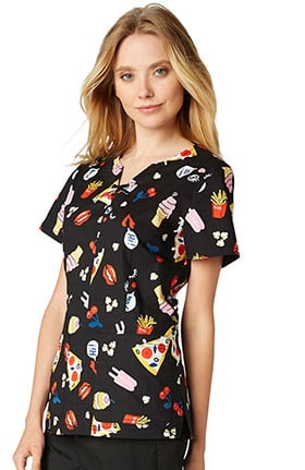 koi Stretch Women's Penelope Modified Notch Neck Junk Food Print Scrub Top