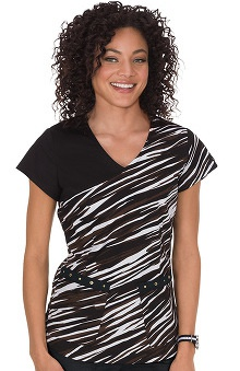 koi Stretch Women's Tina V-Neck Stripe Print Scrub Top