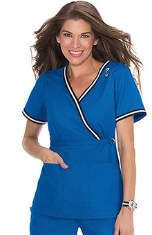 koi Women's Juliana Mock Wrap Scrub Top