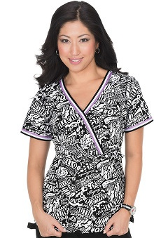 koi Women's Juliana Mock Wrap Words Print Scrub Top