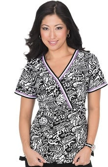 Clearance koi Women's Juliana Mock Wrap Words Print Scrub Top