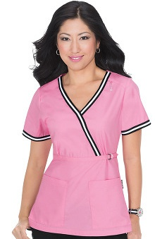 koi Women's Juliana Mock Wrap Pink Ribbon Scrub Top