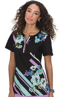 koi Women's Savannah Deco Floral Print Scrub Top